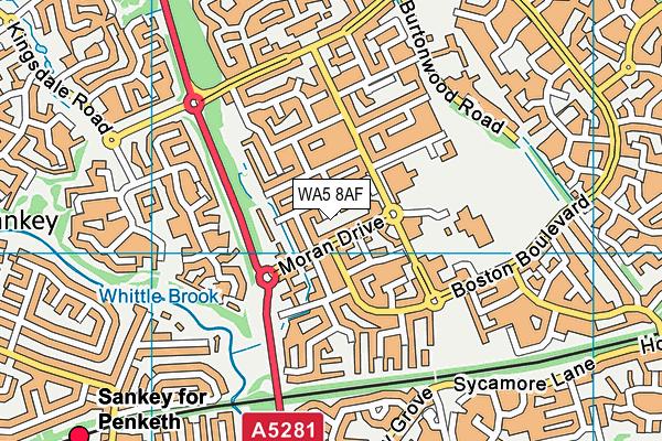 WA5 8AF map - OS VectorMap District (Ordnance Survey)