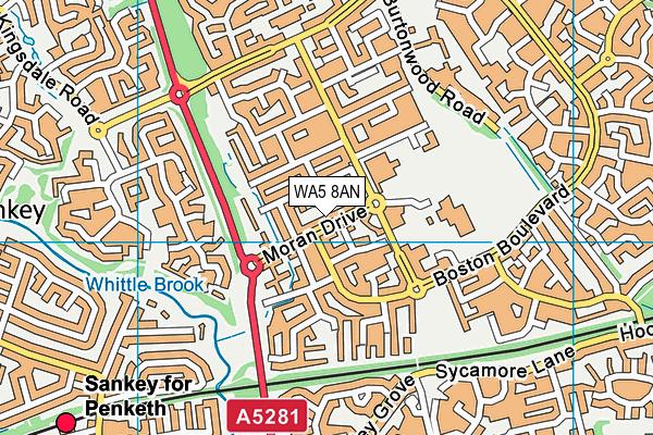 WA5 8AN map - OS VectorMap District (Ordnance Survey)