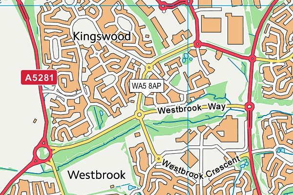 WA5 8AP map - OS VectorMap District (Ordnance Survey)