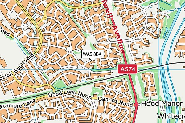 WA5 8BA map - OS VectorMap District (Ordnance Survey)