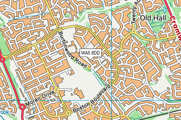 WA5 8DD map - OS VectorMap District (Ordnance Survey)