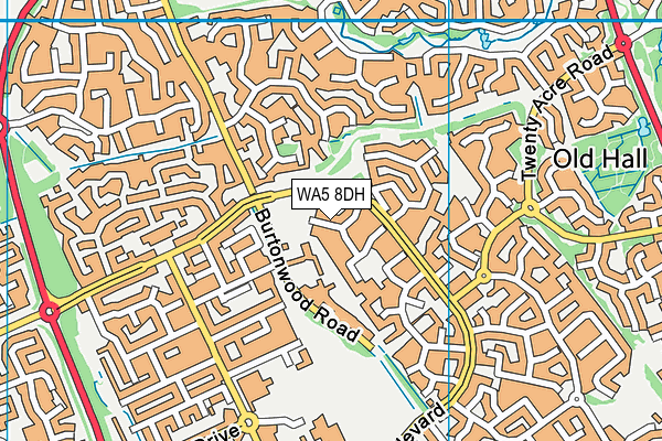 WA5 8DH map - OS VectorMap District (Ordnance Survey)