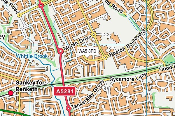 WA5 8FD map - OS VectorMap District (Ordnance Survey)