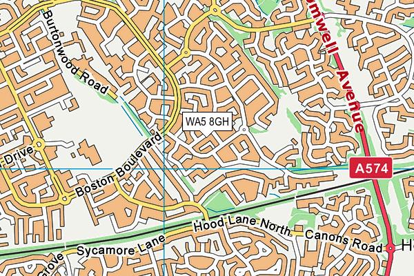 WA5 8GH map - OS VectorMap District (Ordnance Survey)