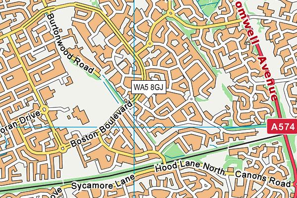 WA5 8GJ map - OS VectorMap District (Ordnance Survey)