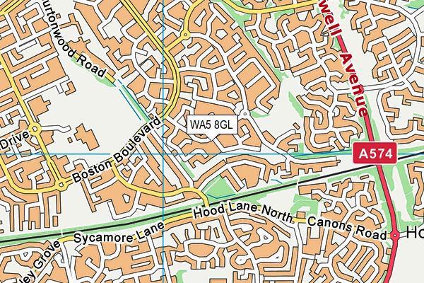 WA5 8GL map - OS VectorMap District (Ordnance Survey)