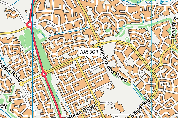WA5 8GR map - OS VectorMap District (Ordnance Survey)