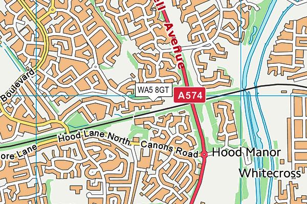 WA5 8GT map - OS VectorMap District (Ordnance Survey)