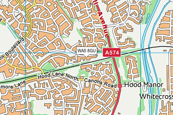 WA5 8GU map - OS VectorMap District (Ordnance Survey)