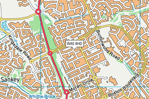 WA5 8HD map - OS VectorMap District (Ordnance Survey)