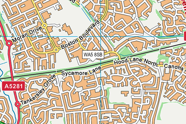 WA5 8SB map - OS VectorMap District (Ordnance Survey)