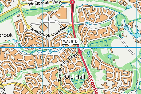 WA5 8TD map - OS VectorMap District (Ordnance Survey)