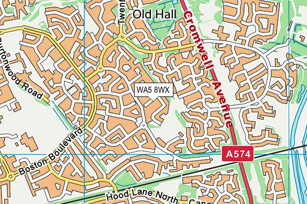 WA5 8WX map - OS VectorMap District (Ordnance Survey)