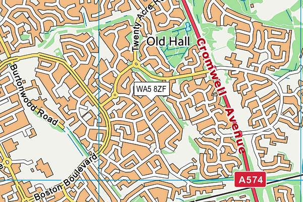 WA5 8ZF map - OS VectorMap District (Ordnance Survey)