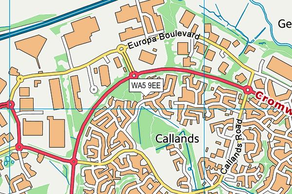 WA5 9EE map - OS VectorMap District (Ordnance Survey)