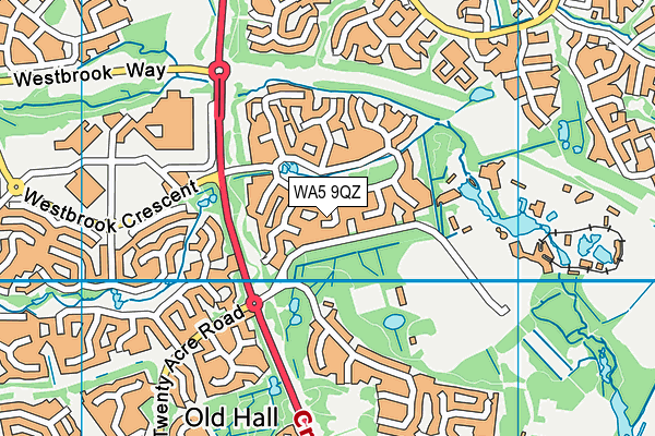 WA5 9QZ map - OS VectorMap District (Ordnance Survey)
