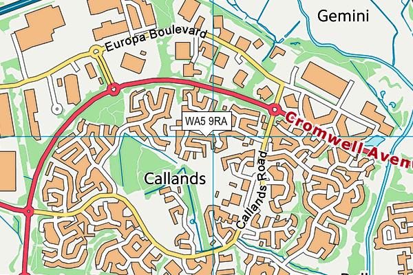 WA5 9RA map - OS VectorMap District (Ordnance Survey)