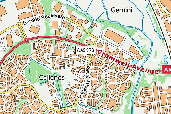 WA5 9RS map - OS VectorMap District (Ordnance Survey)