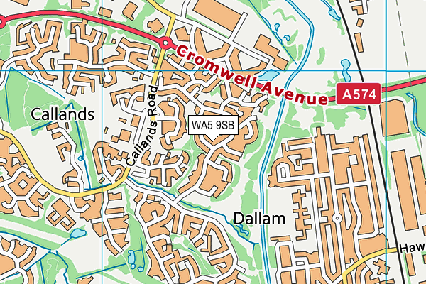 WA5 9SB map - OS VectorMap District (Ordnance Survey)