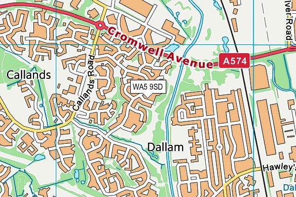 WA5 9SD map - OS VectorMap District (Ordnance Survey)
