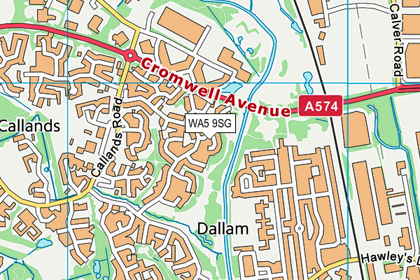 WA5 9SG map - OS VectorMap District (Ordnance Survey)