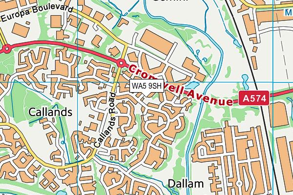 WA5 9SH map - OS VectorMap District (Ordnance Survey)