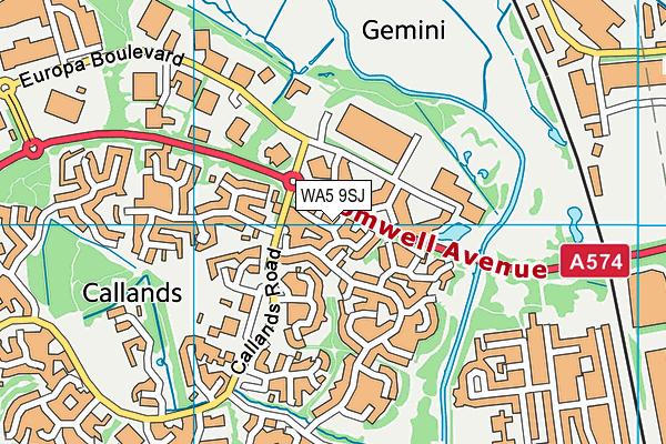 WA5 9SJ map - OS VectorMap District (Ordnance Survey)