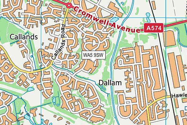 WA5 9SW map - OS VectorMap District (Ordnance Survey)