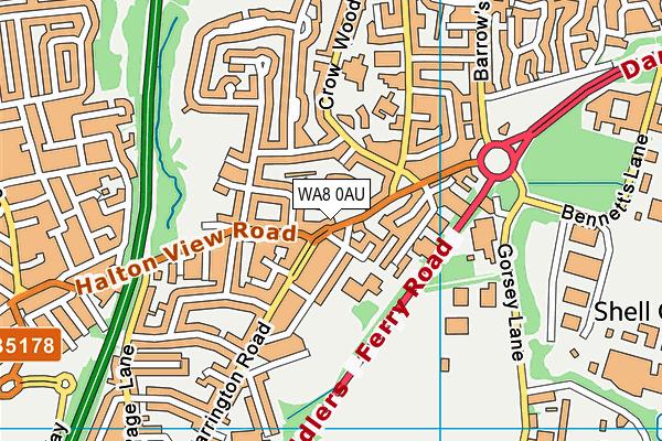 WA8 0AU map - OS VectorMap District (Ordnance Survey)