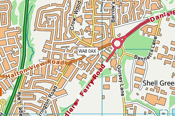 WA8 0AX map - OS VectorMap District (Ordnance Survey)