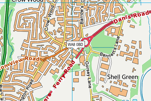 WA8 0BD map - OS VectorMap District (Ordnance Survey)