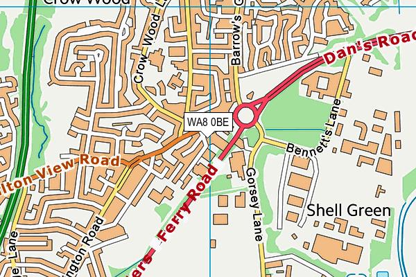 WA8 0BE map - OS VectorMap District (Ordnance Survey)