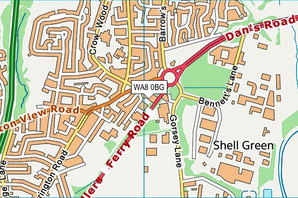 WA8 0BG map - OS VectorMap District (Ordnance Survey)
