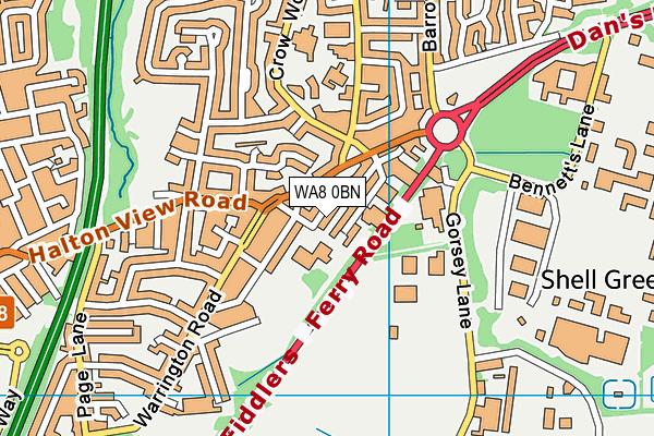 WA8 0BN map - OS VectorMap District (Ordnance Survey)