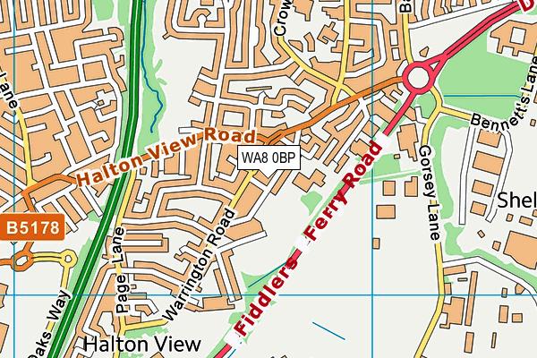 WA8 0BP map - OS VectorMap District (Ordnance Survey)