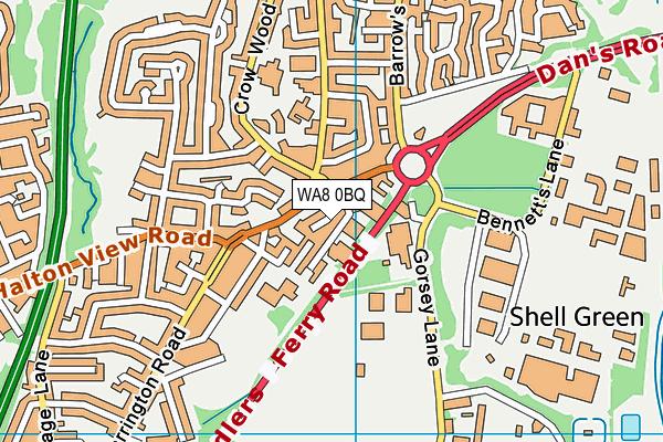 WA8 0BQ map - OS VectorMap District (Ordnance Survey)