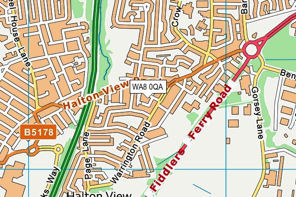 WA8 0QA map - OS VectorMap District (Ordnance Survey)