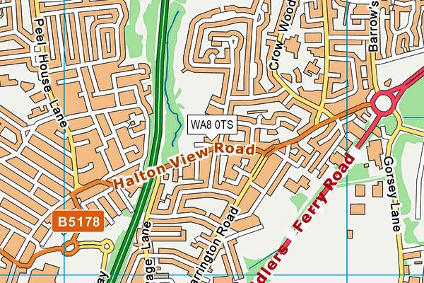 WA8 0TS map - OS VectorMap District (Ordnance Survey)