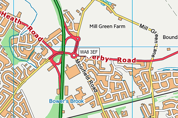 WA8 3EF map - OS VectorMap District (Ordnance Survey)