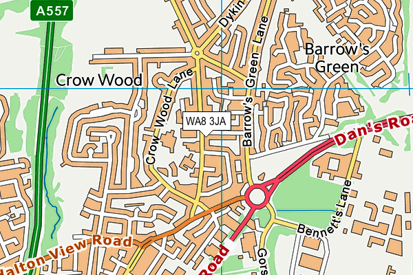 Brookfields School map (WA8 3JA) - OS VectorMap District (Ordnance Survey)
