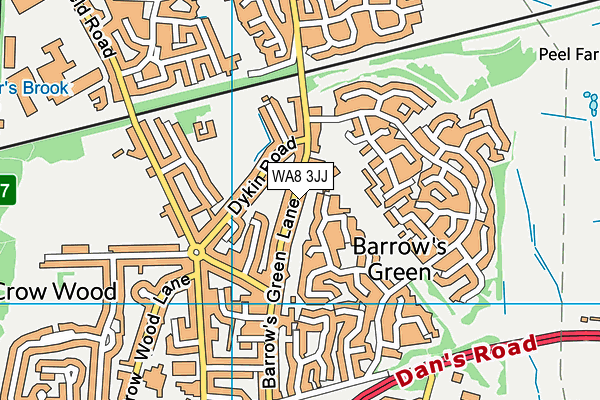 WA8 3JJ map - OS VectorMap District (Ordnance Survey)