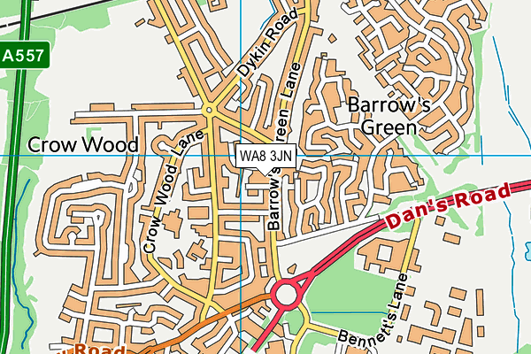 WA8 3JN map - OS VectorMap District (Ordnance Survey)