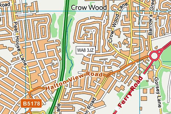 WA8 3JZ map - OS VectorMap District (Ordnance Survey)