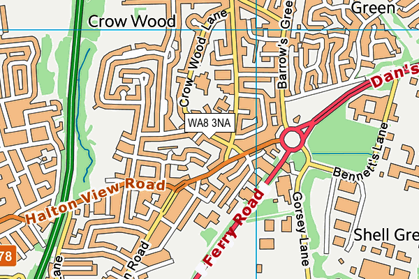 WA8 3NA map - OS VectorMap District (Ordnance Survey)
