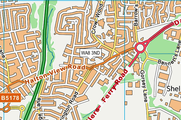 WA8 3ND map - OS VectorMap District (Ordnance Survey)