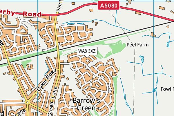 WA8 3XZ map - OS VectorMap District (Ordnance Survey)