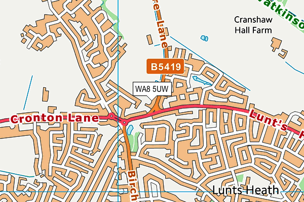 Wilmere Lane Playing Fields map (WA8 5UW) - OS VectorMap District (Ordnance Survey)