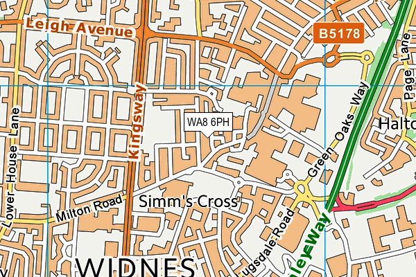 Stones Gym map (WA8 6PH) - OS VectorMap District (Ordnance Survey)