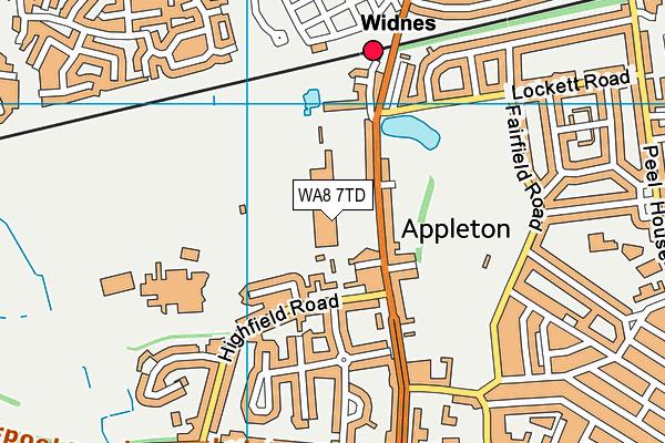 Wade Deacon High School map (WA8 7TD) - OS VectorMap District (Ordnance Survey)