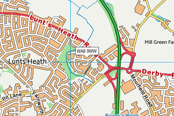 WA8 9WW map - OS VectorMap District (Ordnance Survey)
